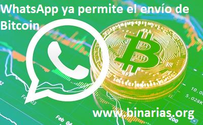 whassapp permite envio de bitcoin